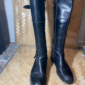 Aldo Womens Black Leather Knee High Boot Size 38.5